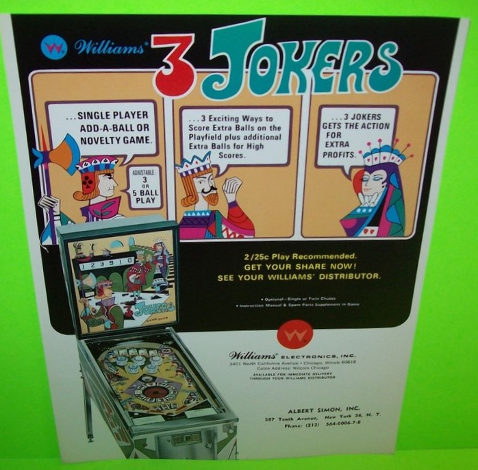 3 JOKERS Pinball Machine Game for sale by WILLIAMS - FREE