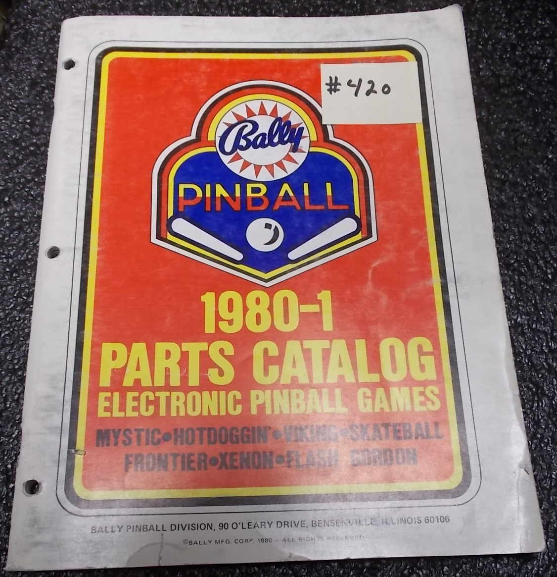 bally pinball machine parts