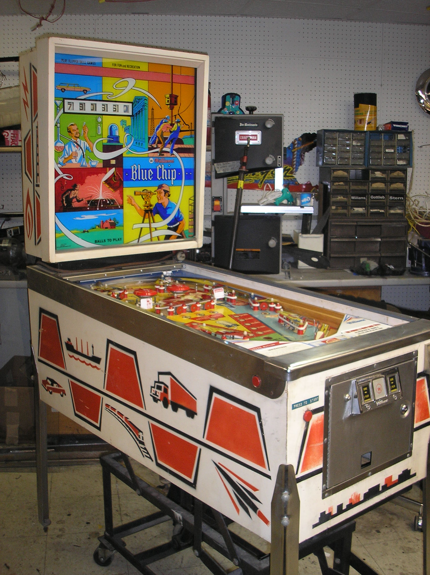 BLUE CHIP Pinball Machine Game for sale by Williams - A GILT
