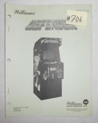 DEFENDER Arcade Machine Game MANUAL #706 for sale by WILLIAMS - FREE
