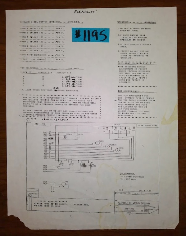 [SCHEMATICS_48IS]  ELEPHANT Arcade Machine Game DIP SWITCH SETINGS, COIN SELECTION & WIRING  DIAGRAM #1195 for sale by GLENDALE - FREE SHIPPING | COIN-OP PARTS ETC |  Arcade | Pinball | Vending | Arcade Game Wiring Diagram |  | COIN-OP PARTS ETC
