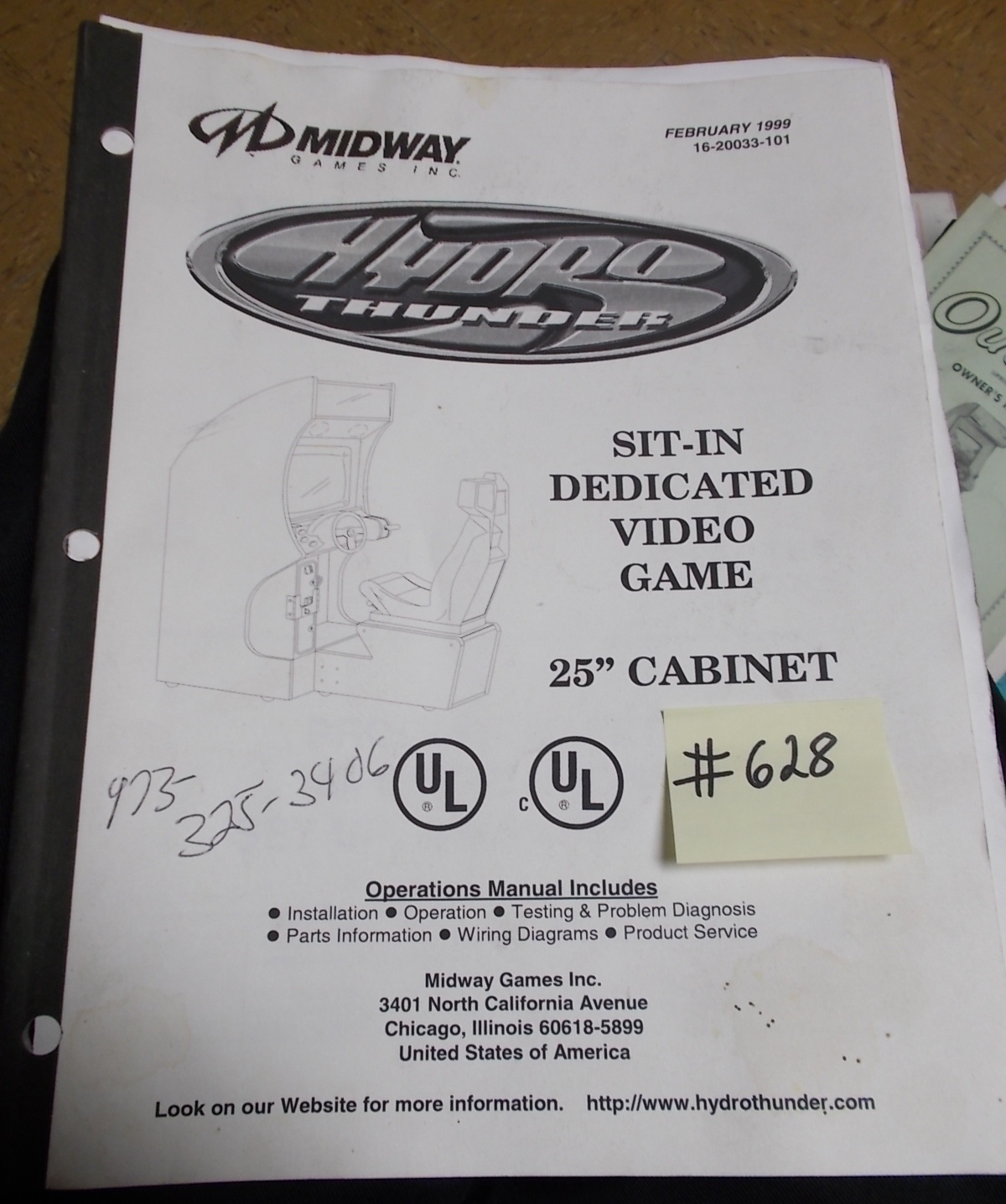 Hydro Thunder Arcade Machine Game Operations Manual 628 For Sale By Vending Wiring Diagram Midway Free Shipping