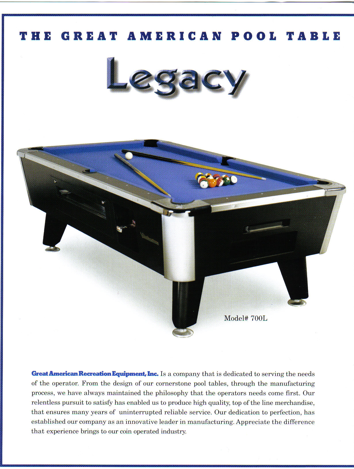 LEGACY Pool Table By Great American CoinOperated Commercial - Coin operated pool table parts