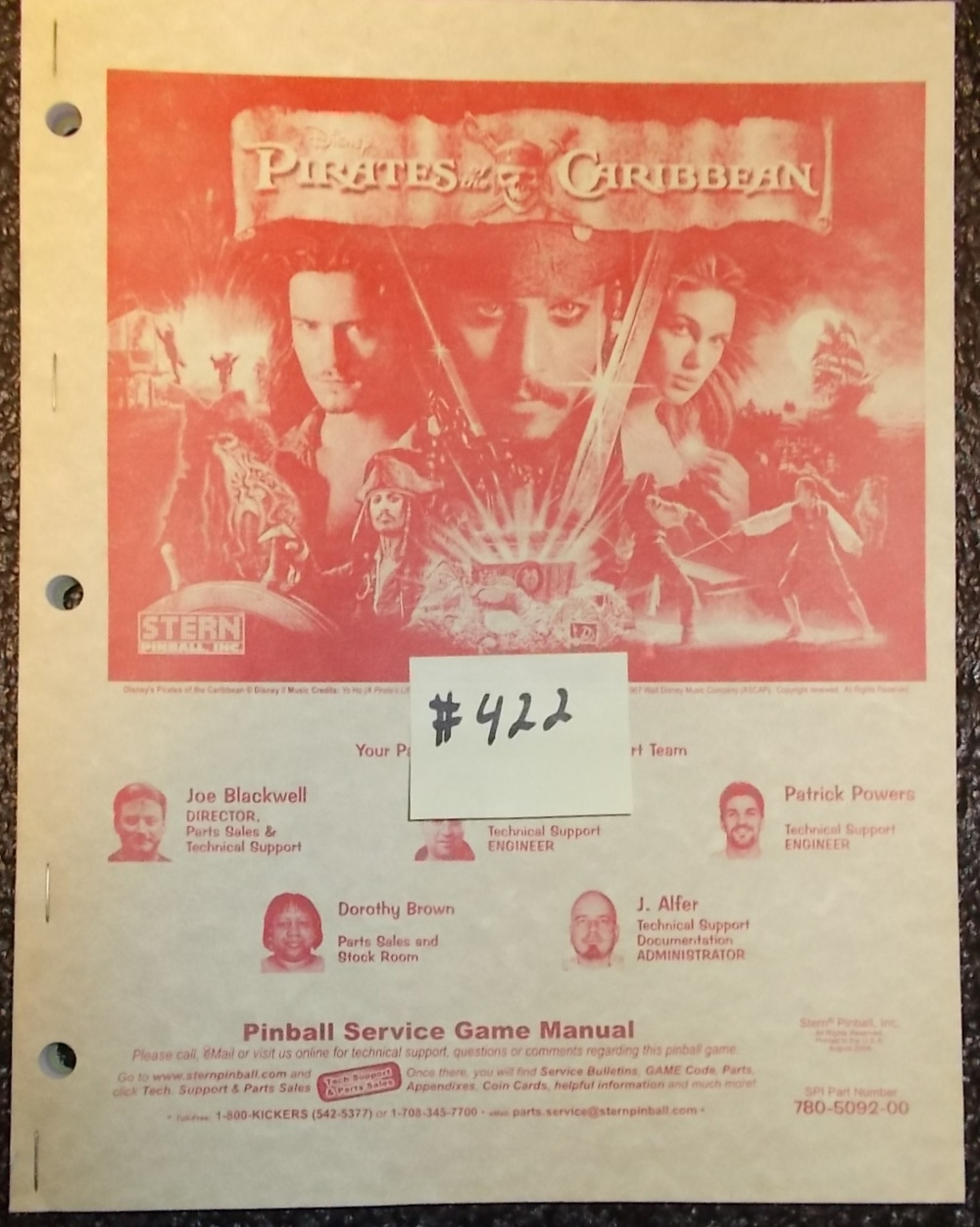 PIRATES OF THE CARIBBEAN Pinball Machine Game Owner's Manual