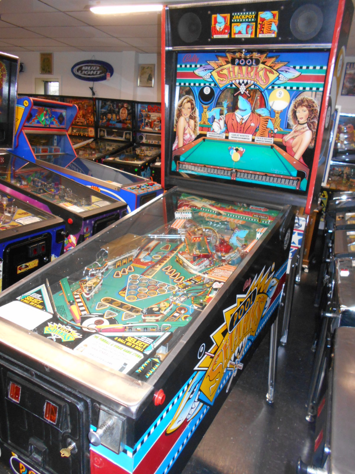 POOL SHARKS Pinball Machine Game for sale by BALLY - LED DISPLAY - 2 GAMES IN 1 - PICK EIGHT OR