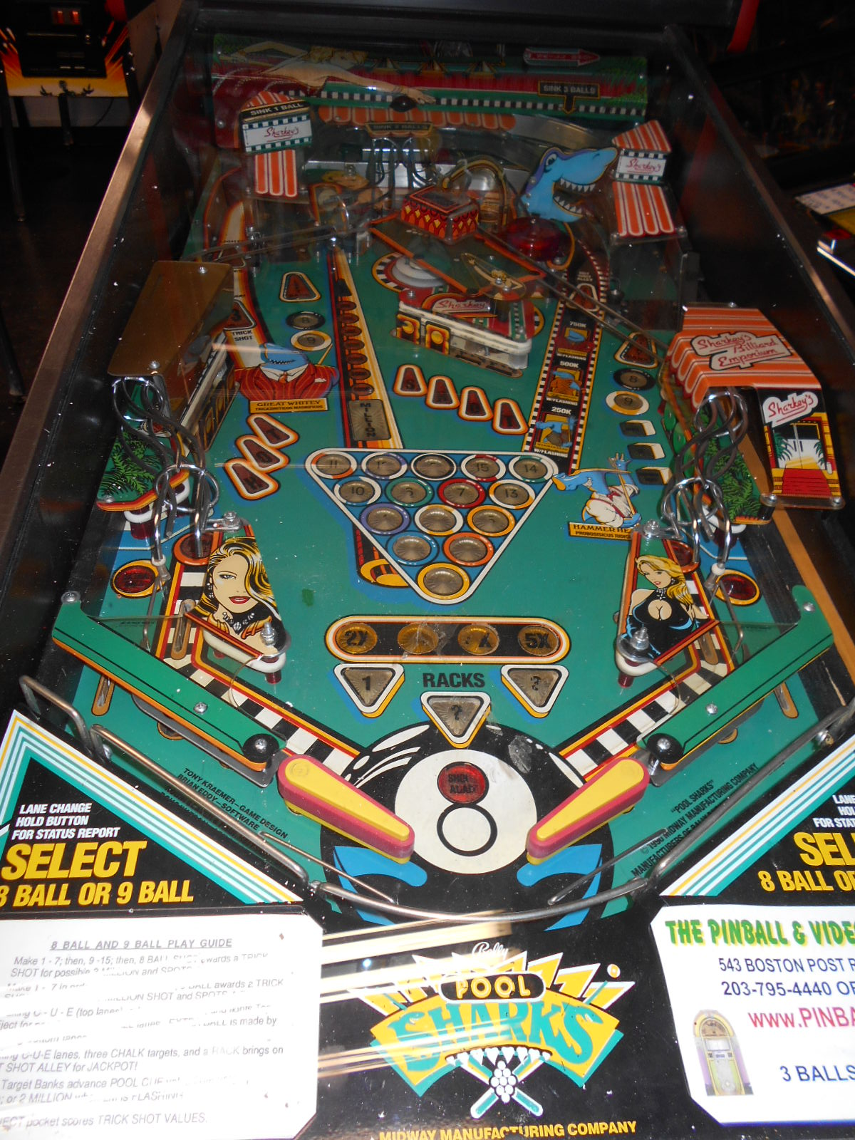 Free Shipping Sites >> POOL SHARKS Pinball Machine Game for sale by BALLY - LED ...
