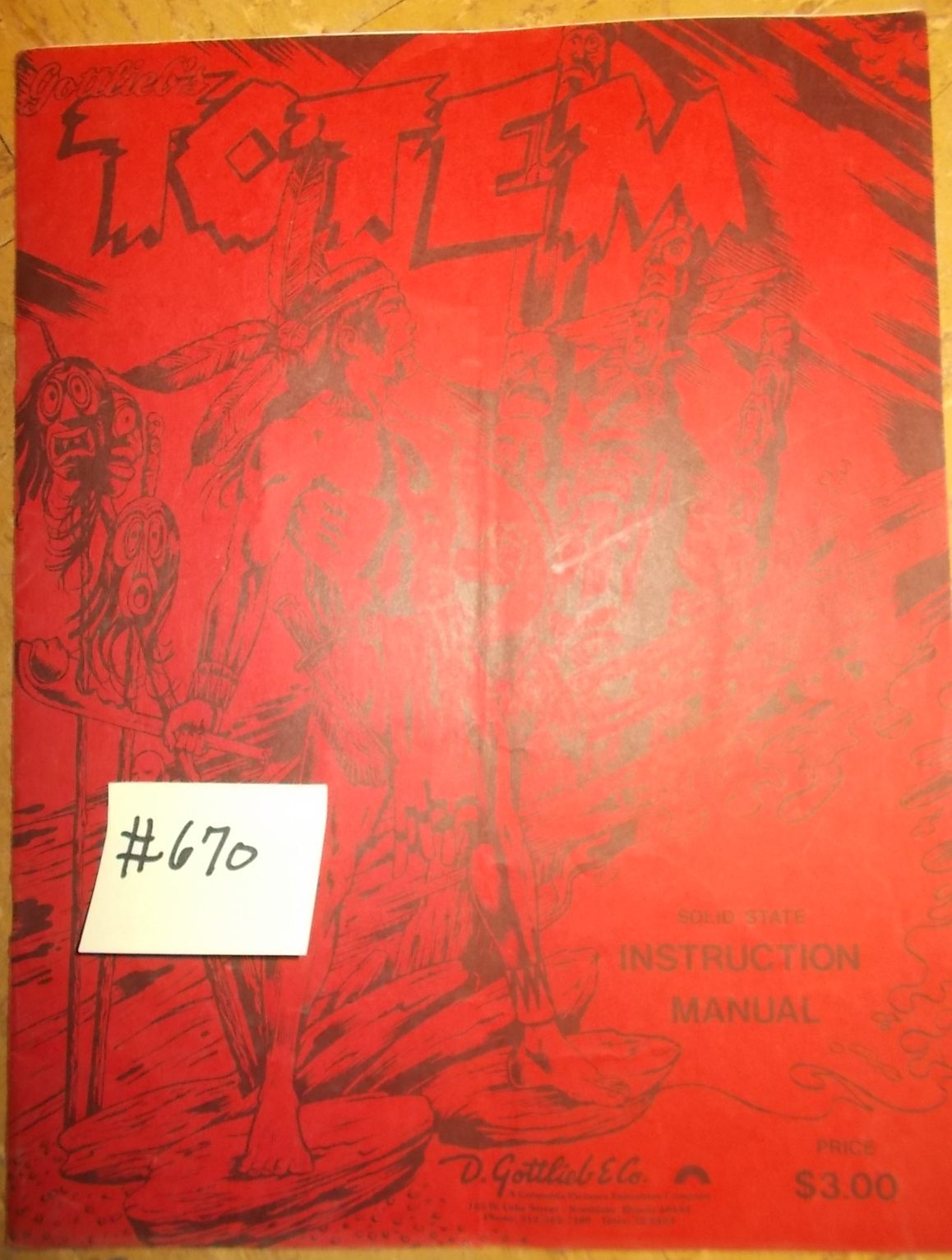 Totem Pinball Machine Game Instruction Manual  670 For