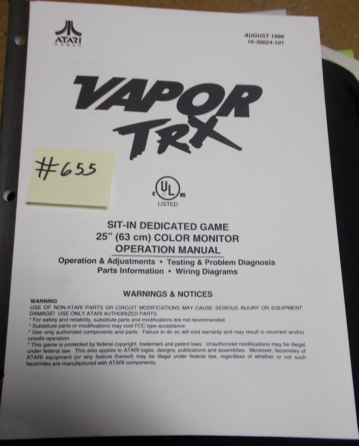 Vapor Trx Arcade Machine Game Operation Manual 655 For Sale By Atari Wiring Diagram Free Shipping
