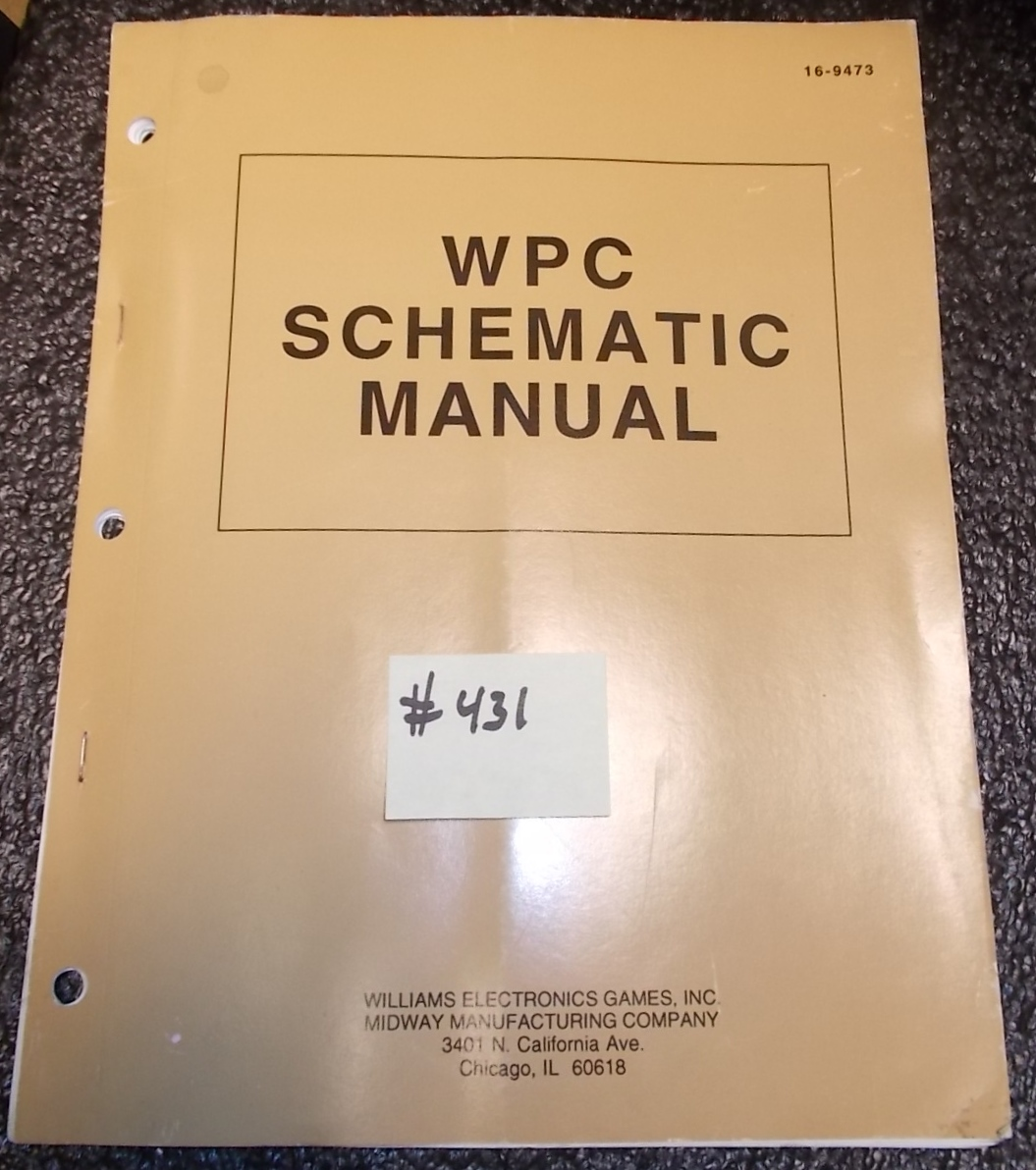 WPC Pinball Machine Game Schematic Manual #431 for sale