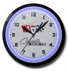 Corvette Stingray Neon Clock - for sale - Sweeping second hand