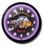 Route 66 America's Highway Get Your Kicks Neon clock for sale - Sweeping second hand