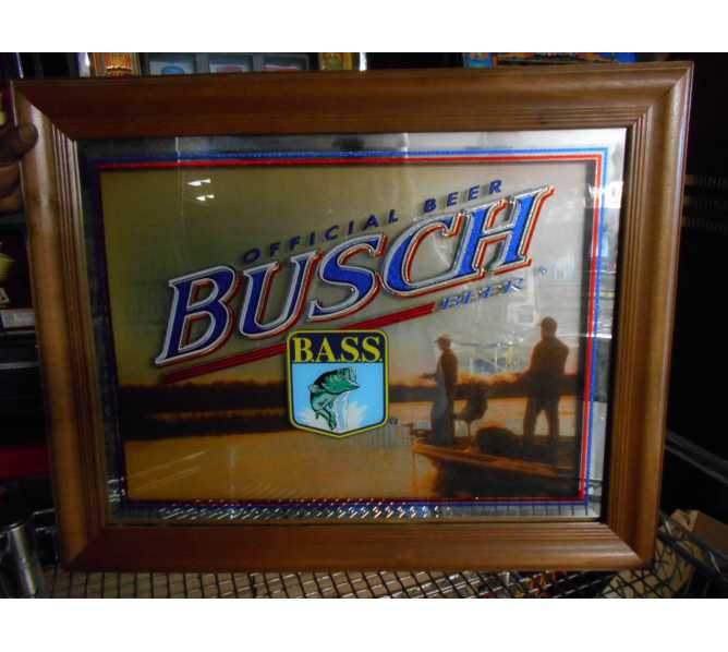 Busch Beer Official B.A.S.S. Authentic Licensed Framed Bar Glass Mirror Advertising Sign for sale
