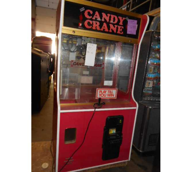 """CANDY CRANE """"PLAY TILL YOU WIN"""" Arcade Machine Game for sale - EXTRA WIDE - with BILL ACCEPTOR"""