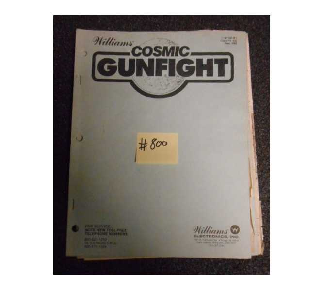 COSMIC GUNFIGHT Arcade Machine Game MANUAL #800 for sale by