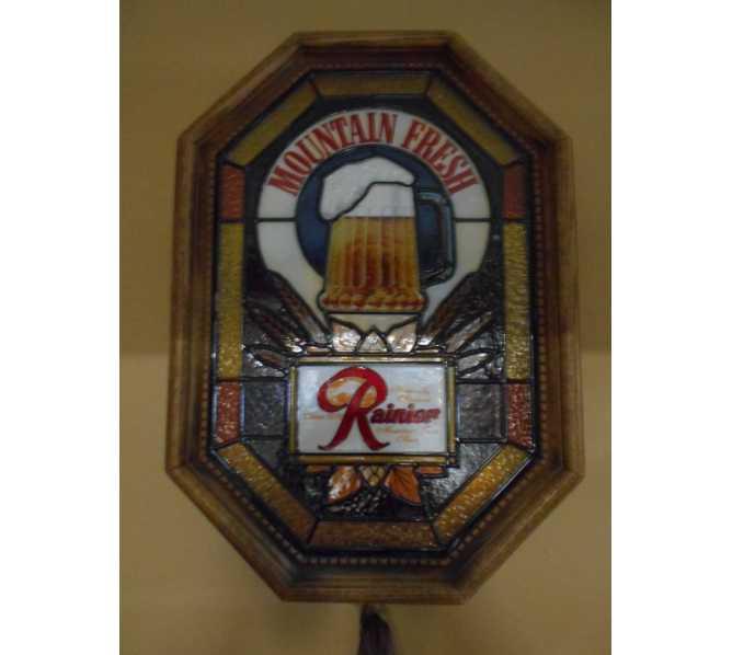 RAINIER Beer Bubbling Mug Glass Motion Light Beer Pub Bar Sign 1983 for sale