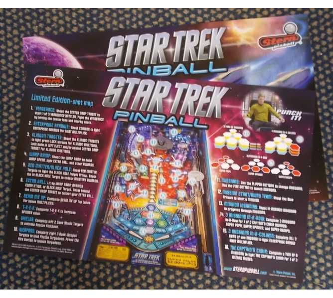 STAR TREK Pinball Machine Game Advertising Promotional 2-Sided Poster for sale - Lot of 2 by STERN