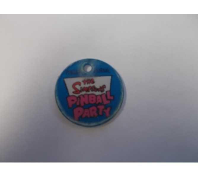 The Simpsons Pinball Party Original Pinball Machine Promotional Key Fob Keychain Plastic Round - Stern