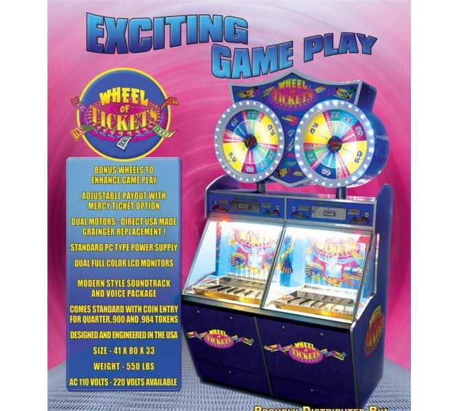 WHEEL OF TICKETS Pusher Arcade Machine Game
